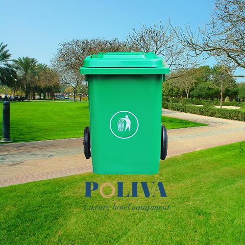 Thùng rác nhựa 80L màu xanh