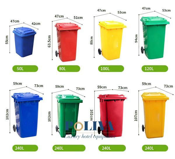 Tham khảo dung tích và kích thước thùng rác nhựa (50L, 80L, 100L, 120L, 240L)
