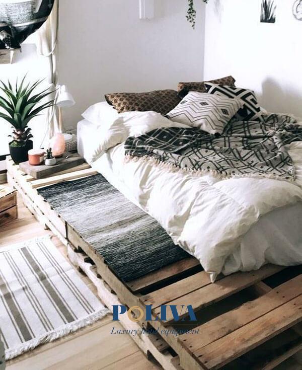 Các homestay mang hơi thở thiên nhiên nên mua loại giường pallet nàyMua giường pallet này phù hợp với khu nghỉ dưỡng mang hơi thở thiên nhiên