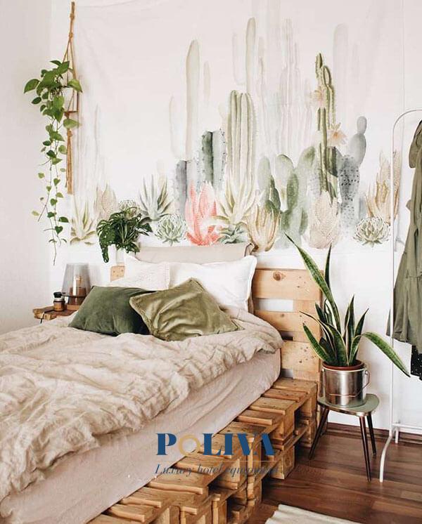 Giường pallet rất hợp với không gian thiên nhiên, nhiều cây cối đúng không nào?