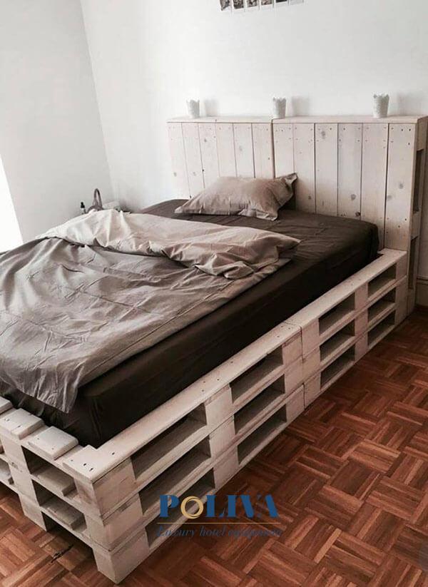 Giường pallet được thiết kế cao tầng đẹp mắt