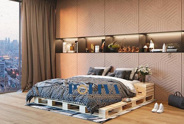 """Khi được đặt trong không gian sang trọng thì giường pallet cũng không bị """"lệch tông"""""""