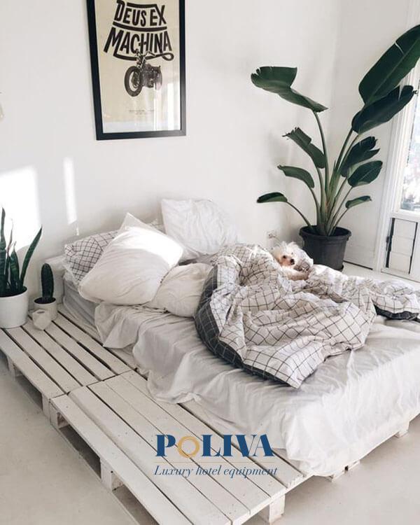Khung giường trắng dễ phối hợp với những đồ dùng khác trong phòng