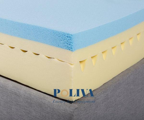 Memory foam được tổng hợp từ lớp bộ nhớ bọt polyurethane (PU) để tăng độ đàn hồi