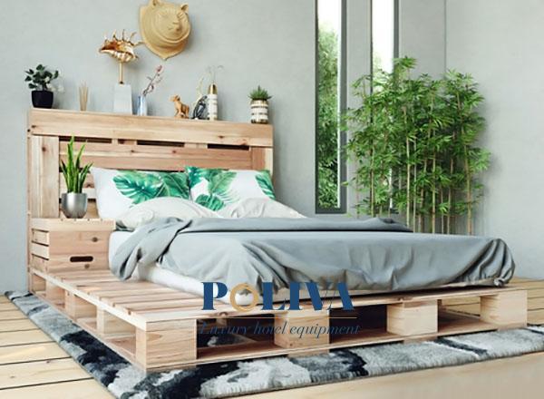 Giường pallet gỗ sẽ khiến không gian homestay trở nên ấm cúng, thân thiện hơn