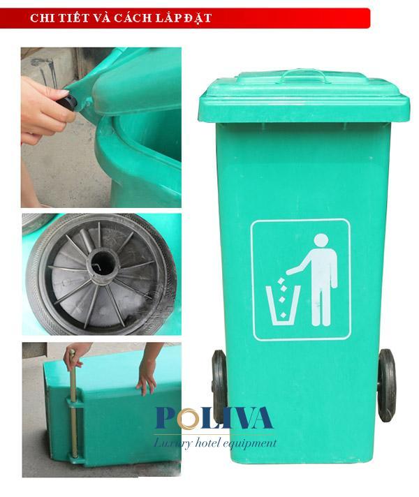 Thùng rác composite 240l nhập khẩu chất lượng của Poliva
