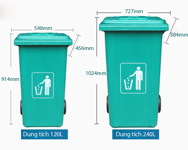 Thùng rác composite nhập khẩu của Poliva đa dạng dung tích, kích thước