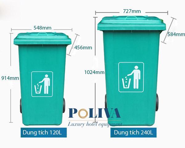 Thùng rác nhựa composite 240L, 120L do Poliva cung cấp