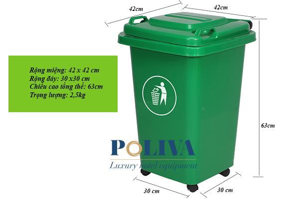 Kích thước thùng rác công cộng 60 lít có bánh xe chắc chắn, bền bỉ