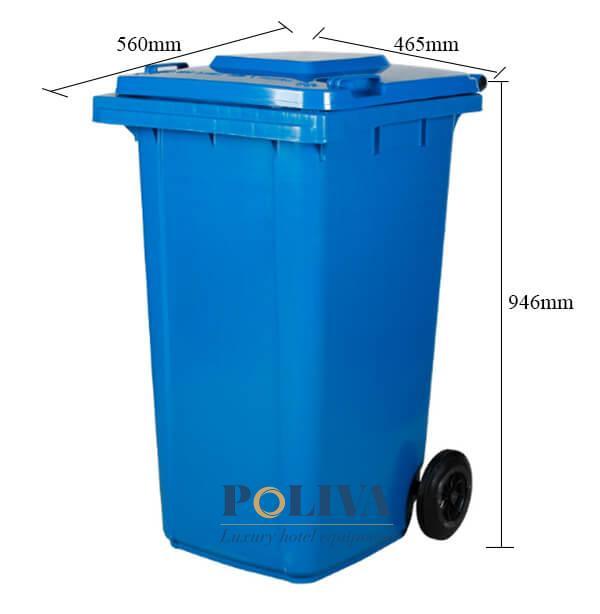 Kích thước thùng rác nhựa 120 lít cao cấp, bền đẹp, đảm bảo vệ sinh