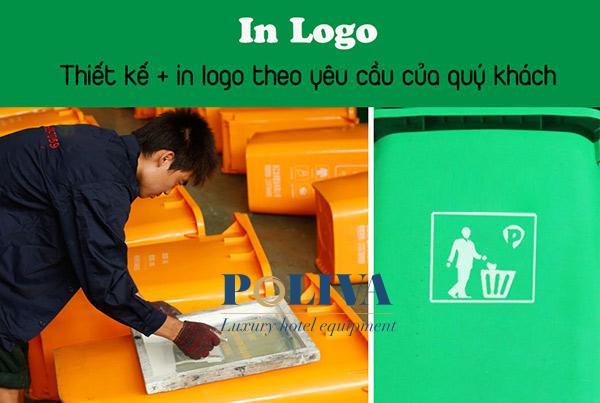 Nhận thiết kế và in logo lên bề mặt thùng rác