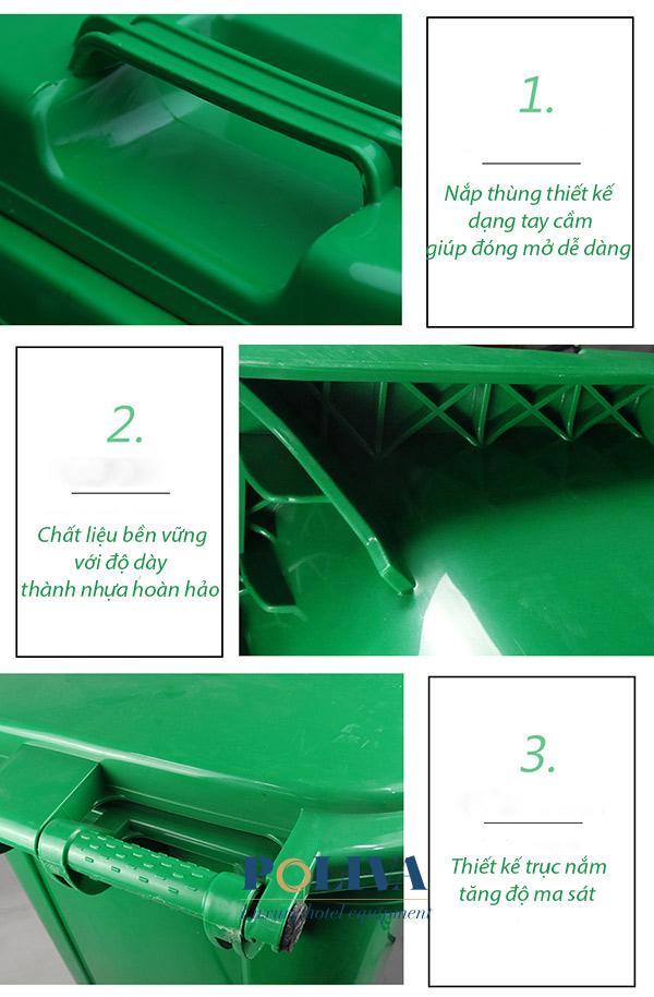Từng chi tiết cấu thành trên thùng rác 240 lit của Poliva
