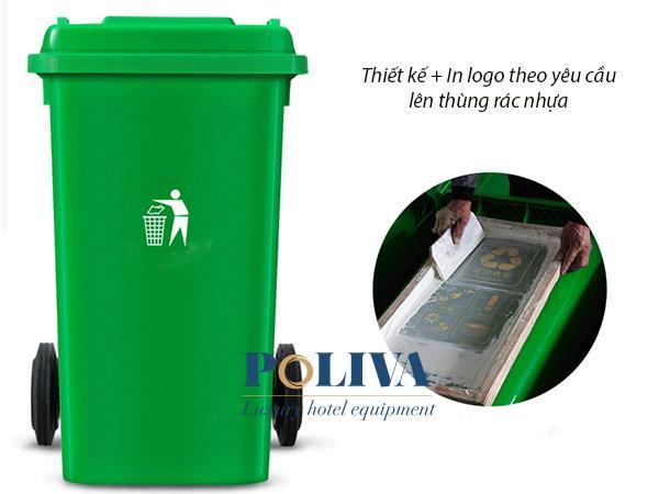 Thùng rác nhựa HDPE 240 lit có thể in ấn logo lên bề mặt