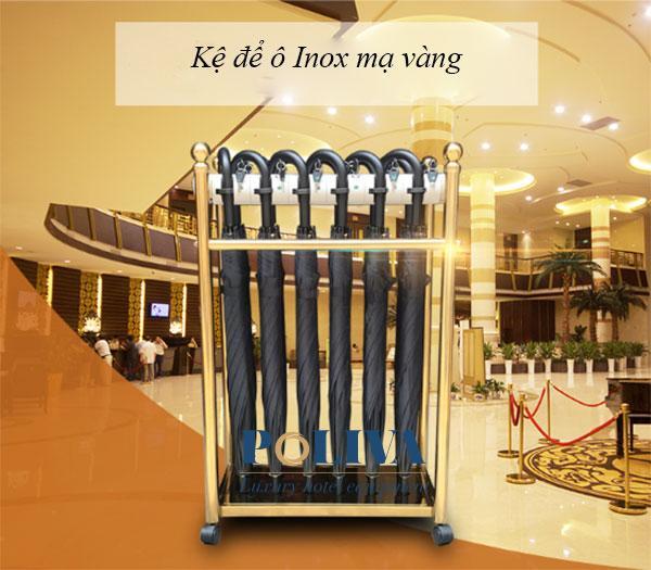 Kệ để ô dù làm từ chất liệu Inox mạ vàng