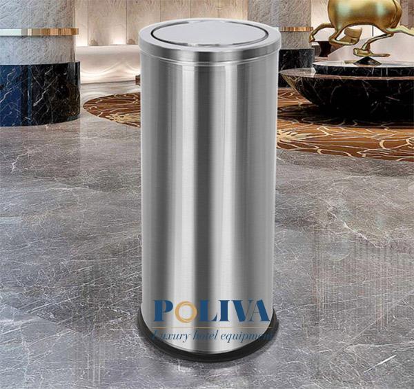 Thùng rác Inox nắp lật được nhiều khách sạn, trung tâm thương mại tin dùng