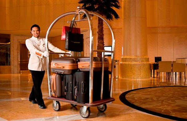 Xe đẩy hành lý khách sạn bằng Inox