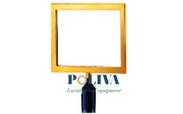 Bảng thông báo viền inox mạ vàng dùng gắn vào đầu cột chắn inox dây căng
