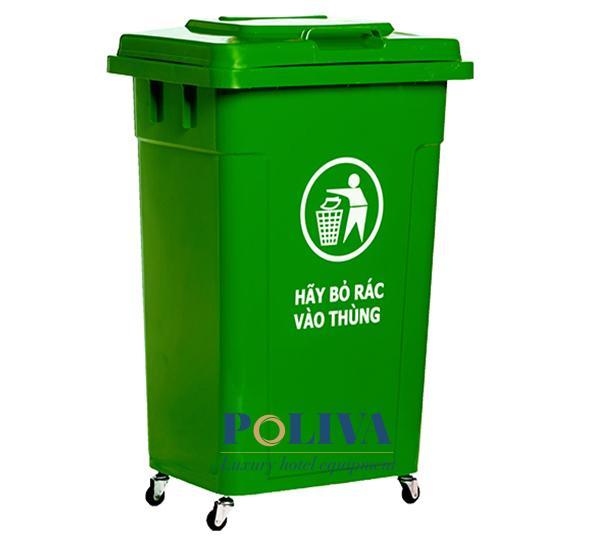 Mẫu thùng rác công cộng 90l có bánh xe, nắp đậy kín vệ sinh sạch sẽ