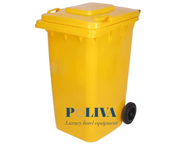 Màu vàng bắt mắt của thùng rác nhựa 120L
