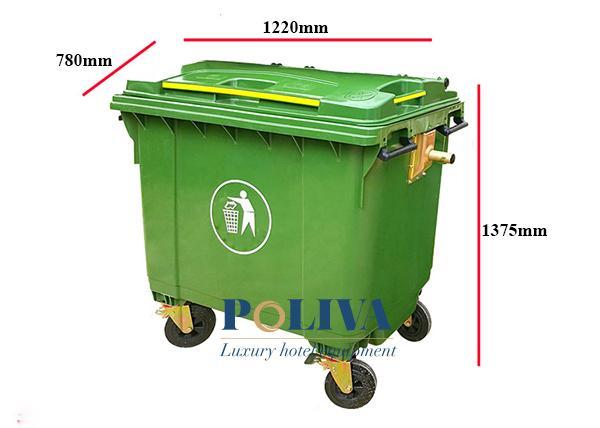 Kích thước thùng rác nhựa 660l của Poliva