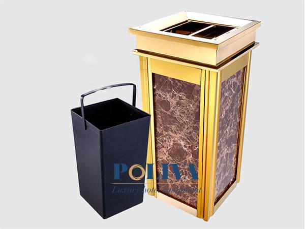 Mẫu thùng rác mạ vàng cho không gian sang trọng, ấn tượng hơn