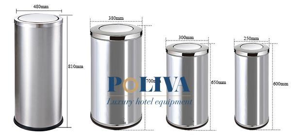 Thùng rác Inox nắp lật đa dạng kích thước