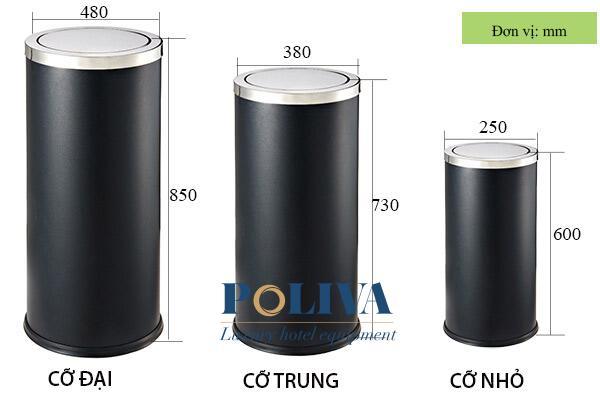 Kích thước các loại thùng rác nắp lật