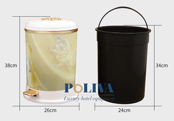 Mô tả thông số kích thước thùng rác đạp chân