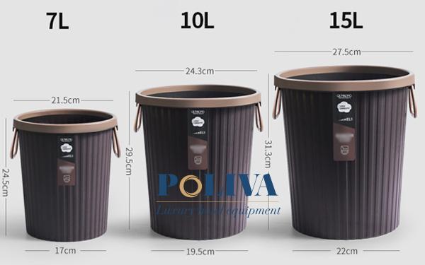 Kích thước thùng rác vô cùng đa dạng để người dùng lựa chọn