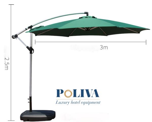 Dòng dù lệch tâm cỡ lớn 3m giúp không gian che nắng, mưa rộng rãi hơn