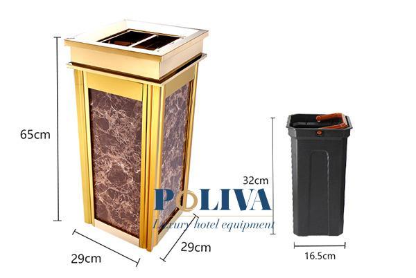 Thông số kích thước chuẩn của thùng rác đá hoa cương hay sử dụng