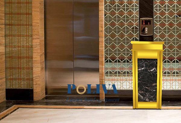 Tiếp tục sử dụng thùng rác đá hoa cương cho khu vực thang máy, đồng bộ với khu vực tiền sảnh khách sạn
