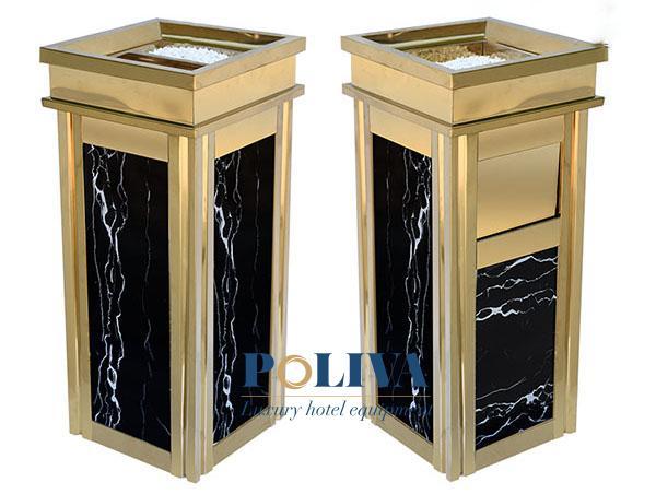 Mẫu thiết kế đem đến một sự cao cấp và ấn tượng đặc biệt. Sắc đen bóng của đá hoa cương kết hợp với màu vàng sáng của khung inox khiến thùng rác trở nên vô cùng đặc biệt.