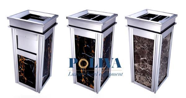 Sắc trắng bạc của inox kết hợp với đá hoa cương cao cấp giúp thùng rác có được sự hiện đại và tính thẩm mỹ cao.