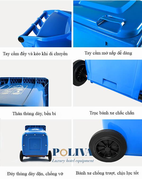Thùng rác nhựa 120 lít HDPE được sản xuất chắc chắn từng bộ phận