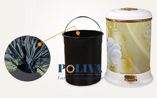 Mẫu thùng rác có nắp đạp chân với thiết kế vô cùng sang trọng và đẳng cấp
