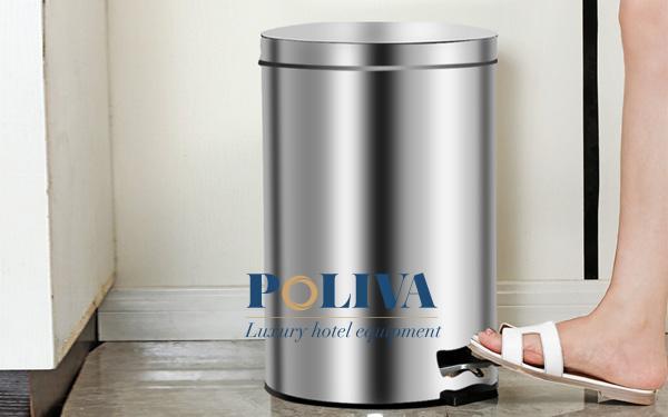 Thùng rác inox đạp chân với thiết kế hiện đại và tiện lợi cho người dùng
