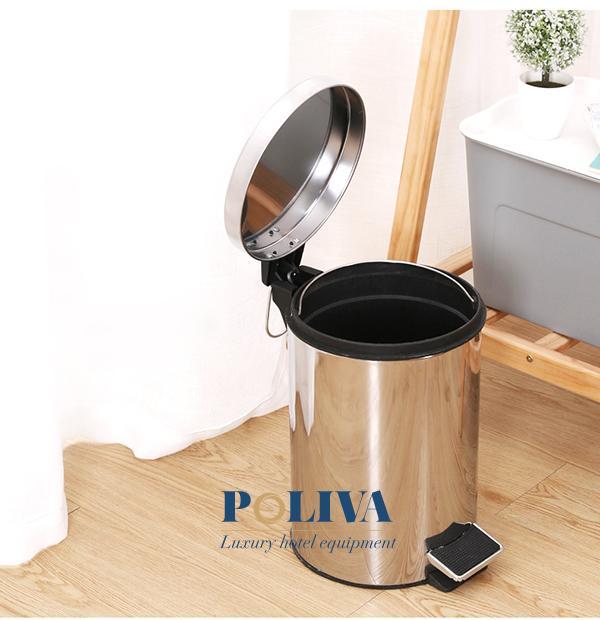 Thùng rác inox thuận tiện khi sử dụng trong khách sạn, văn phòng