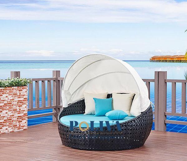 Giường tắm nắng hồ bơi giả mây có mái che
