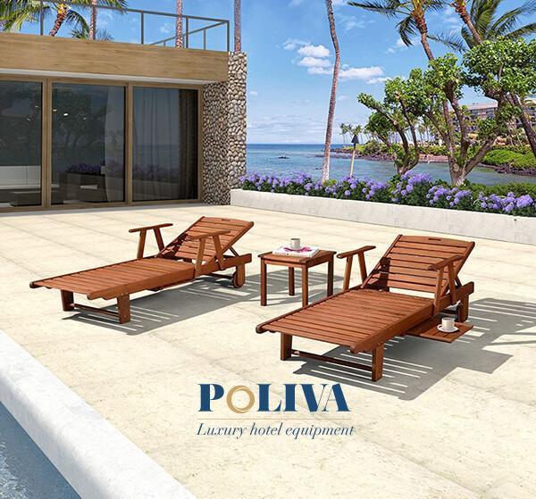 Ghế bể bơi Hà Nội bằng gỗ có tay vịn cao cấp