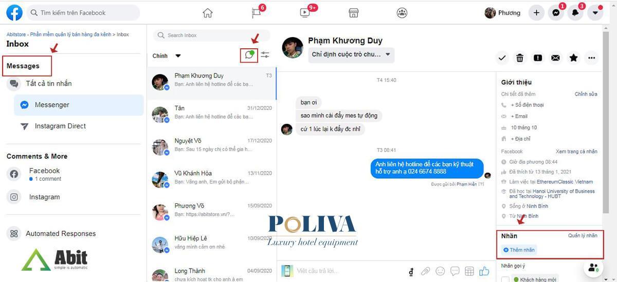 Cách trả lời các tin nhắn trên fanpage Facebook