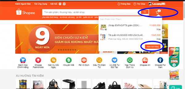 Quy trình mua hàng trên Shopee