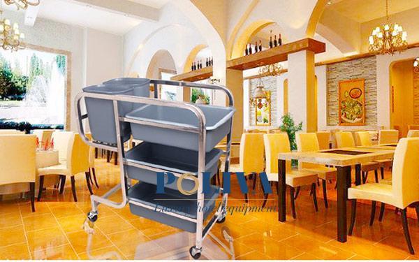 Xe thu gom bát đĩa khung inox: Sự lựa chọn số 1 cho nhà hàng