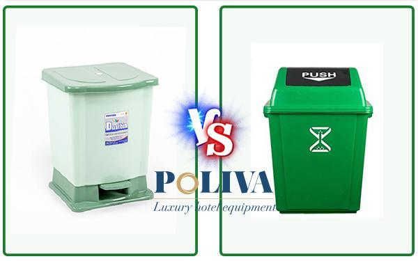 Thùng rác nhựa đạp chân và nắp bập bênh giống và khác nhau ở điểm gì?