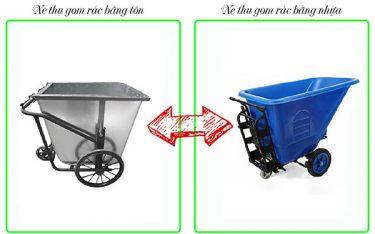 Nên sử dụng xe gom rác bằng tôn hay bằng nhựa?
