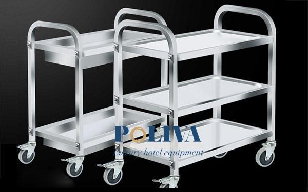 Công dụng của xe đẩy inox nhiều tầng trong bếp nhà hàng